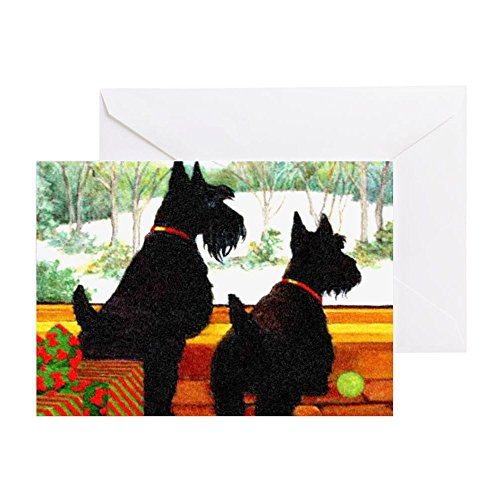 (CafePress A Scotty Dog Christmas Greeting Card (20-pack), Note Card with Blank Inside, Birthday Card Glossy)