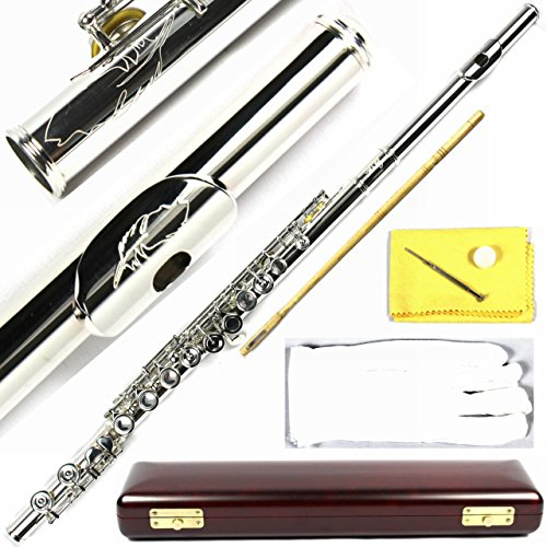 Engraved Design Wood Case Italian Pads 16 Keys Silver Plated Close Hole C Flute