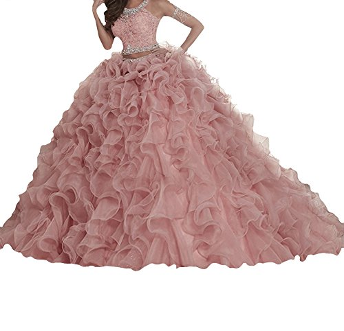BoShi Women's Sweet 15 Two Pieces Lace Evening Gowns Removable Quinceanera Dresses 6 US Pink ()
