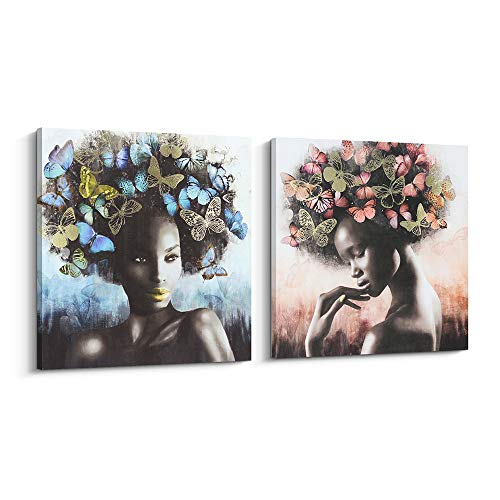 American Canvas - Pi Art Framed African American Canvas Wall Art, Gold and Black Art Women with Butterflies Modern Wall Painting for Home Decor (24x24 inch, A and B)