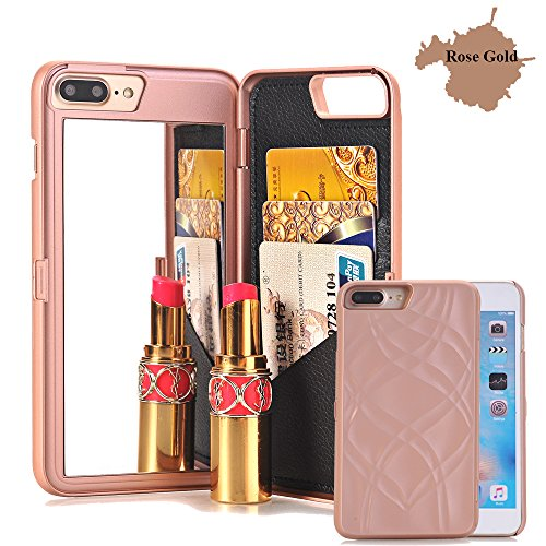 Iphone 7 Plus Case,Iphone 8 Plus Case, [3D Mirror Series] Cards Holder Kickstand Wallet Style Flip Back Cover Protective Case with Free Screen Protector for iPhone 7/8 Plus 5.5 Inch(Rose Gold)