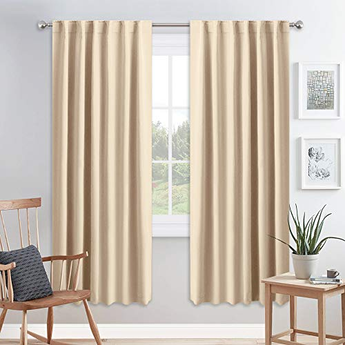 PONY DANCE Living Room Curtains - Window Treatments Blackout Curtain Panels Back Tab & Rod Pocket Draperies Energy Saving Drapes for Dining Room, W 52