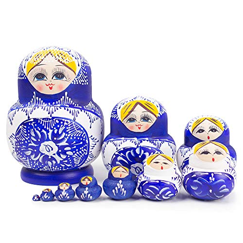 POPLAY 10 pcs. Beautiful Wooden Russian Nesting Doll Blue/Handmade Painted Gifts