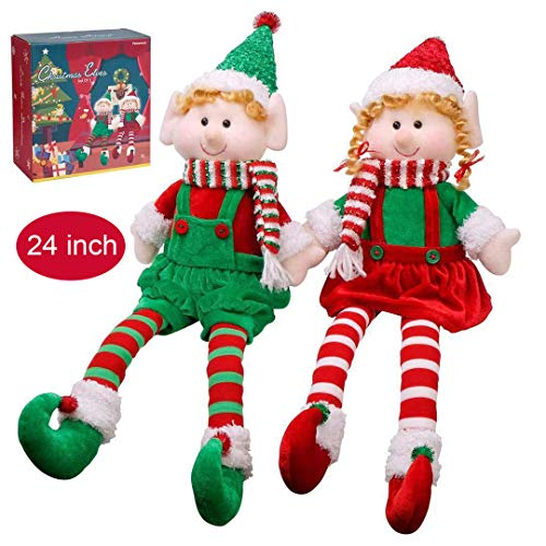 Christmas Elves Decorations Dolls Big Plush Figurines Packed in Color Box Yecence 24quot Soft Stuffed Holiday Ornaments Xmas Decor Adorable Gifts Boy and Girl Set of 2