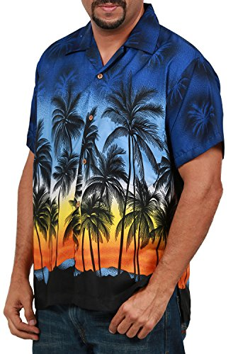 (Men's Hawaiian Shirt Button Down Casual Aloha Short Sleeve Beach Shirts (Navy Palm Trees, Medium))