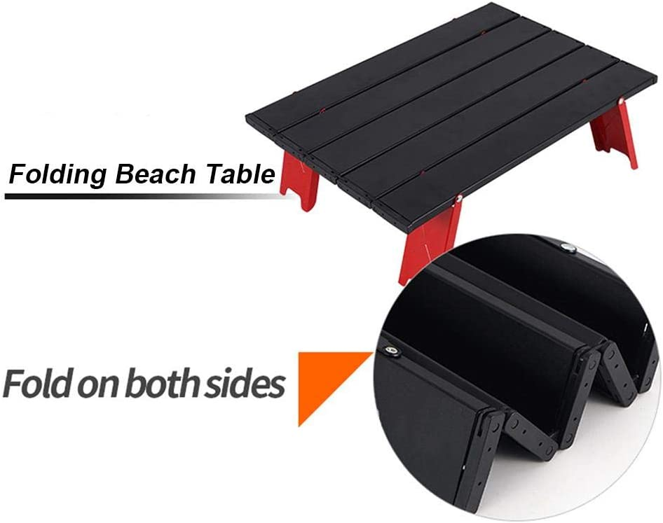 Fishing Lightweight Folding Roll Up Micro Side Table Portable Aluminum Alloy Camping Table for Beach Small Folding Table Picnic Hiking Travel Laptop