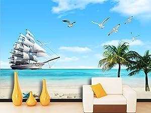 3D Sailboat Beach Landscape 3 Wall Paper Print Decal Deco Indoor Mural Self Adhesive Wallpaper AJ WALLPAPER US Carly Woven Need Glue