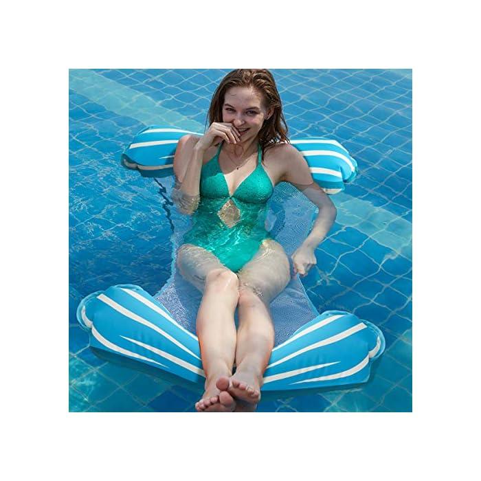 """51eHUycPRUL 【FÁCIL DE ALMACENAR Y LLEVAR】 La hamaca de agua es plegable y compacta, puede inflar y desinflar la hamaca de agua de manera rápida y sencilla. Simplemente enróllelo para guardarlo fácilmente o tírelo cuando sea necesario. Puede llevarlo a un viaje. 【ÚNICO 4-en-1 Y GRAN CAPACIDAD DE CARGA】 Sistema inflable flotante 4-en-1 con dimensiones 52 """"x 26.8"""" (132cm x 68cm) Se convierte en hamaca, sillón, Drifter y sillín de ejercicios. Simultáneamente no tiene necesidad de preocuparse por el límite de peso, manejará hasta 250 libras aunque sea liviano. 【COMODO Y SIN DAÑOS】 Esta hamaca inflable tiene un diseño ergonómico y está cubierta con tela laminada de PVC, brinda mucho apoyo y abundancia de confort. No tienen olor y no son tóxicos, son seguros y no dañan su salud. Puede disfrutar del tiempo de padres e hijos con sus hijos en la piscina, se recomienda que los niños vayan acompañados de adultos."""