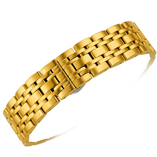 20mm Men's Women's Luxury Gold Metal Watch Bands Inox Strap Replacements Silver Deployment Clasp with Push Button Removable Links -  AUTULET, OT.XHM.20GD.HD