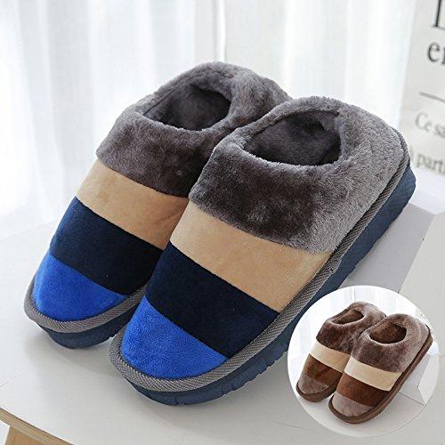 LaxBaAbsorption de choc mou et perméable à lintérieur dhiver Chambre pantoufles pour hommes et femmes gris bleu + Brun 42-43