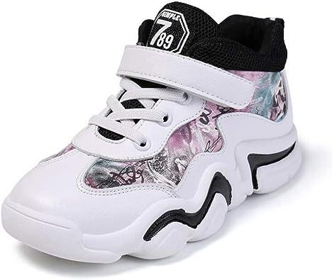 Zapatillas de Deporte de Baloncesto para niños con Top Velcro Fashion Girls Pink Boys Zapatillas Blancas Niños Ocio Zapatillas Antideslizantes: Amazon.es: Zapatos y complementos