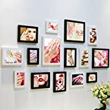 Home@Wall photo frame Living Room Photo Frame Wall ,Creative Wall Photo Frame Combination 15 Pcs/sets Collage,Family Picture Frame Wall DIY Photo Frame Sets ( Color : E , Size : 15frames/13575CM )
