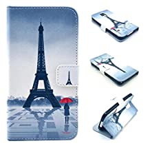 Galaxy S5 Case,S5 Case, Kmety Eiffel Tower Girl Pattern Design Pu Leather with wallet Case for Samsung Galaxy S5