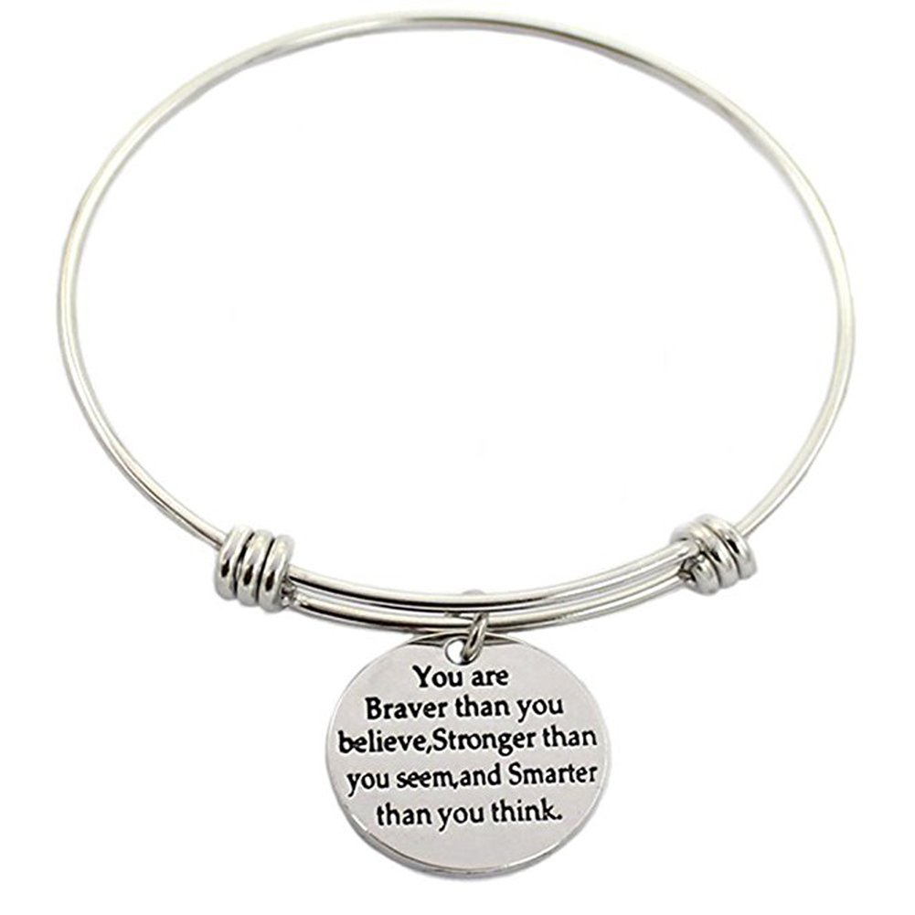 3 Sets Silver Plated Stainless Steel Metal Engraved Motivational Round Charm Pendant Adjustable Bracelets by SMARTWALLSTATION (Image #3)