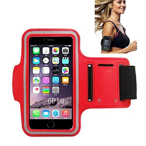 iPhone 6 Armband, Morris Water Resistant Sports Armband with Key Holder for iPhone 6, 6S (4.7-Inch), Galaxy S3/S4, iPhone 5/5C/5S, Bundle with Screen Protector (Red)