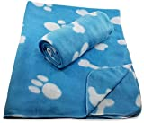 38 x 30 Inch Dog Blanket with Paw Print and Bones Pattern by FIDO Care (Set of 2 Blue Fleece)