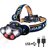 LED Head Torch, AOMEES Headlamp Headlight USB Rechargeable with Red Warning Light