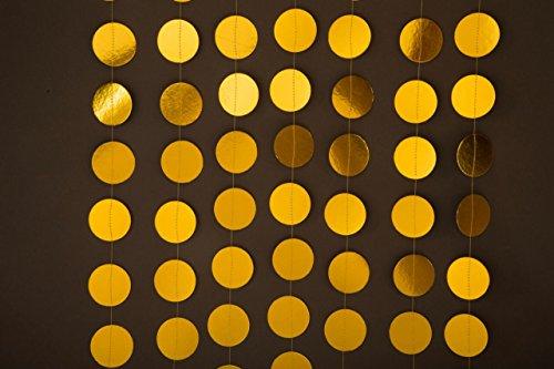 [Gold wedding garland, Gold garland, gold wedding decor, Paper garland, Birthday Decor, Wedding decoration,Circle paper] (Alice In Wonderland Halloween Decorations)
