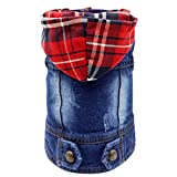 Image of SILD Pet Clothes Dog Jeans Jacket Cool Blue Denim Coat Small Medium Dogs Lapel Vests Classic Hoodies Puppy Blue Vintage Washed Clothes