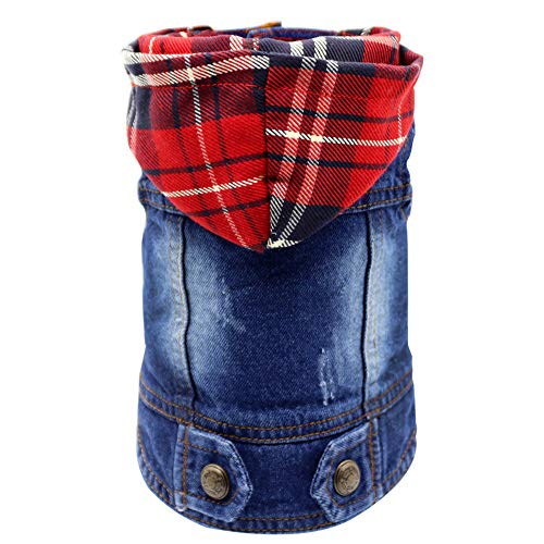 (SILD Pet Clothes Dog Jeans Jacket Cool Blue Denim Coat Small Medium Dogs Lapel Vests Classic Hoodies Puppy Blue Vintage Washed Clothes (Plaid Hat,XXL) )