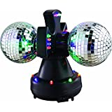 "Lightahead® 4"" Twin Mirror Ball, multiple-changing LED bulbs,rotating in opposite directions, Beautiful Light for Disco party club bar DJ"
