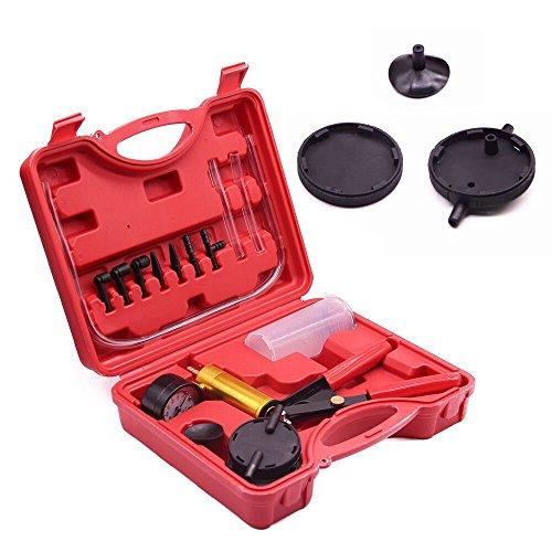 Hand Held Vacuum Pump Brake Pump Tester Set Vacuum Gauge and Brake Bleeder Kit for Automotive with Adapters Case Metal ()