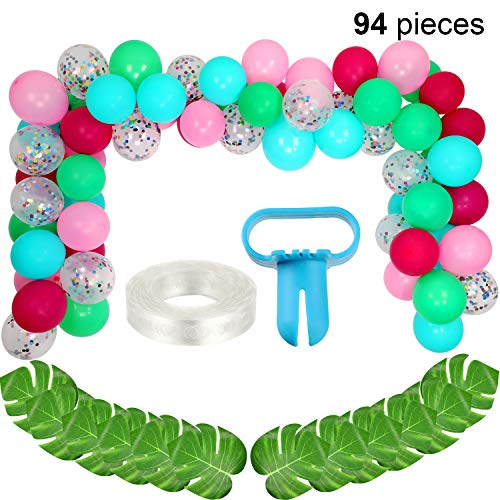 (94 Pieces Totally Latex Balloons Garland in Blue Green Pink Rose Red, Confetti Balloons Turtle Leaf for Hawaiian Party Summer Tropical Theme Party Supplies )