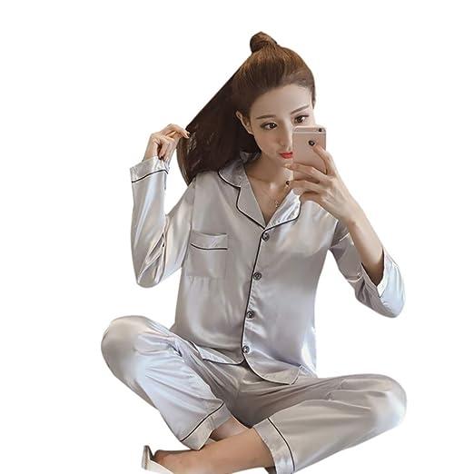 Huaheng Seda Mujer Pijama Niña Pijamas Traje Satén Camisón Pijama ...