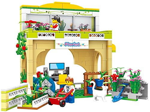 Quality florist shop building blocks 146pcs play set includes a rooftop garden, with two gardening locations outside the shop with planters - building bricks - compatible bricks toy
