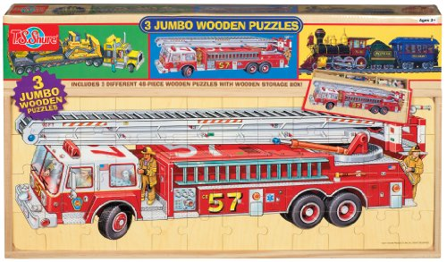 Wood Sized Puzzles Jumbo - T.S. Shure Vehicles Jumbo Wooden Puzzles in a Wood Box