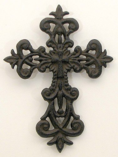 HomeCrafts4U Fleur De Lis Accented Cross Sculpture Indoor Outdoor Ornament Church Chapel Decorative Wall Mounted Hanging Catholic Faith Symbol Statue Iron Memorial Bereavement Décor (Set of 2)