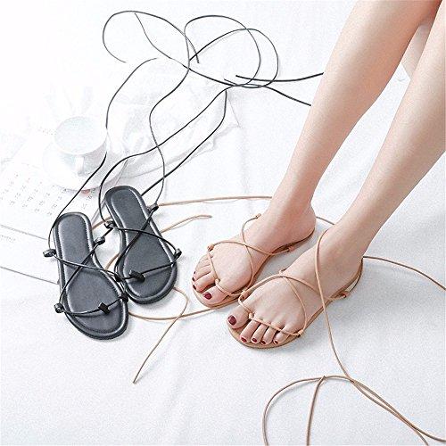 de YMFIE Sandalias Fondo Lazos de Plano New b Verano de Playa Casual Polo Mujer Calzado Cross P1wPfrqxS
