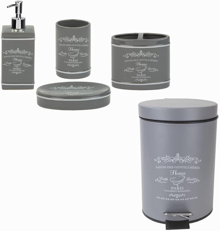 Home Basics Paris Collection Bathroom Accessories Bundle in Grey | Waste Bin | Soap Dispenser | Soap Dish | Tumbler | Toothbrush Holder | Elegant Design