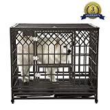 SMONTER 42' Heavy Duty Strong Metal Dog Cage Pet Kennel Crate Playpen with Wheels, Y Shape, Brown