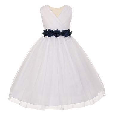 d20c72a5472d9 Amazon.com: Little Girls White Black Chiffon Floral Sash Tulle ...