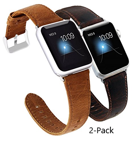 nd 42mm Genuine Leather Replacement Strap with Retro Crazy Horse Texture for 42mm iWatch All Versions (Pack of 2) (Professional Apple)