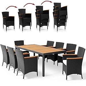 Deuba Salon de Jardin en polyrotin Noir et Acacia Ensemble 8 Personnes 1 Table 8 chaises empilables 8 Coussins de Chaise…