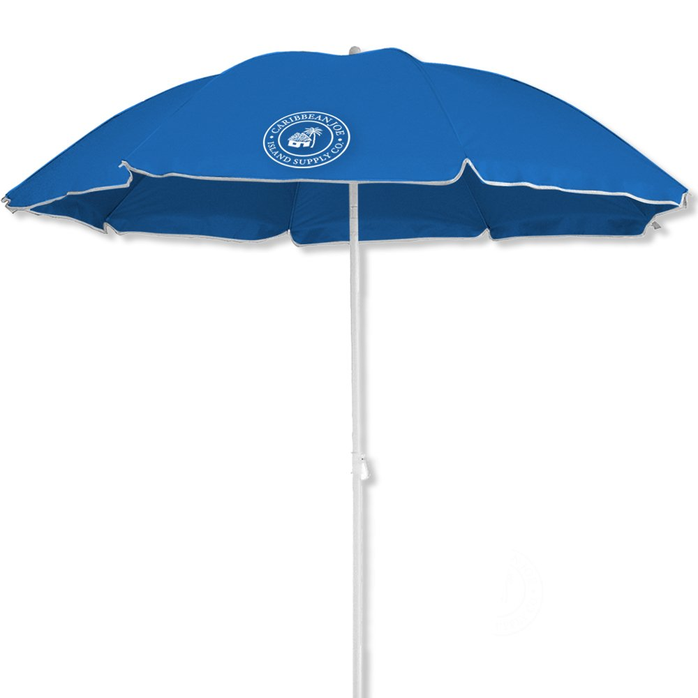 Caribbean Joe Beach Umbrella UV Protection with Color Matching Carry case, Blue, 6'