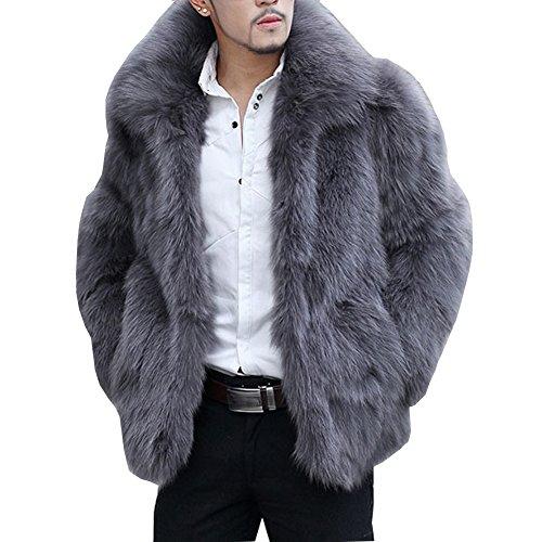 Mens Mink Coat - LIYT Men's Fashion Faux Fur Coat Winter Warm Overcoat