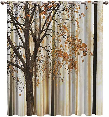 Room Darkening Grommet Romantic Autumn Tree Picture Print Grommet Top Darkening Thermal Curtain Drape