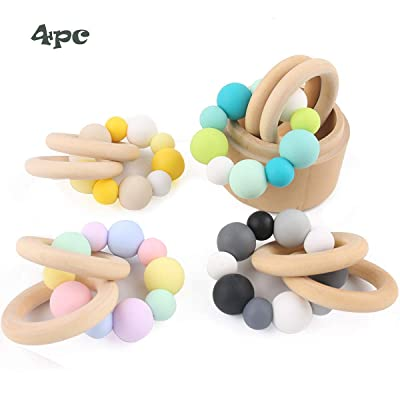 Biter teether Wooden Rings Baby Teether Bracelet Bpa Free Silicone Beads Infant Rattle Teething Toys 4pcs Chewable Nursing Set: Toys & Games