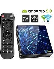 Android TV Box 9.0【4GB RAM+64GB ROM】 Livebox TV Box RK3318 Quad-Core 64bit Cortex-A53 Soporte 2k*4K, WiFi 2.4G/5G,BT 4.1 , USB 3.0 Smart TV Box