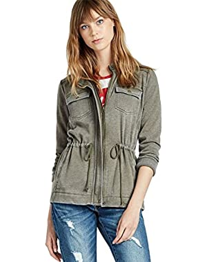 Women's - Ivy Green Brushed Military Sweatshirt Anorak Jacket!