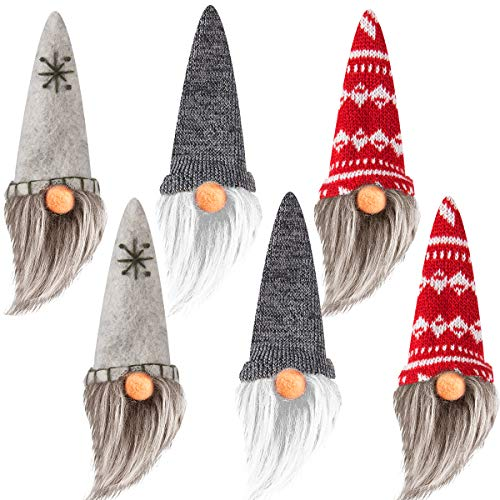 Alphatool Set of 6 Handmade Swedish Tomte- Christmas Elf Gnome Scandinavian Santa Gnome Plush Christmas Tree Hanging Ornament Figurines for Home Holiday Decorations Xmas Gifts
