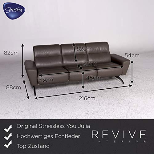 Stressless You Julia Designer Leather Sofa Gray Three-Seater ...