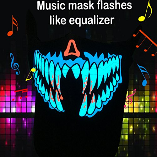Flashingworld Music Equalizer Led party Mask with sound active for dancing,riding,skating,party and any music festival (blue)