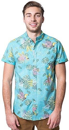 Brooklyn Athletics Men's Hawaiian Aloha Shirt Vintage Casual Button Down Top, Aqua Leaves, (Floral Vintage Sport Shirt)