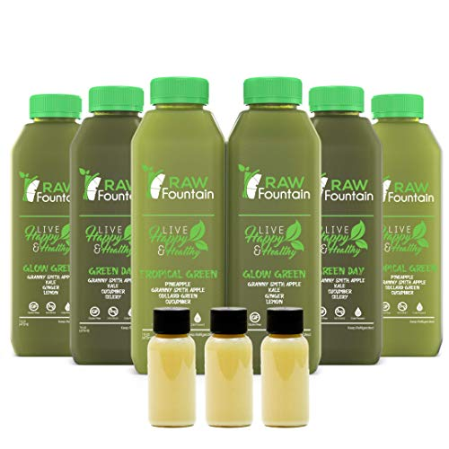 3 Day All Green Juice Cleanse by Raw Fountain - 100% Fresh Natural Organic Raw Green Juices -Give Your Body The Detox It Deserves! - 18 Bottles (16 fl oz) + 3 Bonus Ginger Shots (3 Day)