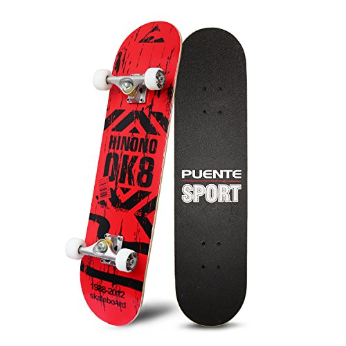 Smooth Sailing Costumes - PUENTE 31 Inch Complete Skateboard - 8 Layer Canadian Maple Wood Double