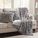 """throw pillows for couch  Faux Fur Throw Blanket Set – Fluffy Plush Blankets for Couch and Bed – Grey Size 50"""" x 60"""" with 2 Square Pillow Covers 20"""" x 20"""""""